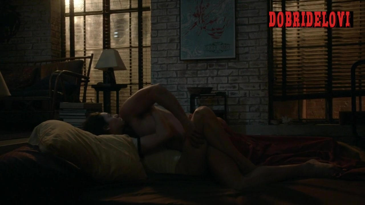 Emmy Rossum undressed and gets into bed with man scene from Shameless