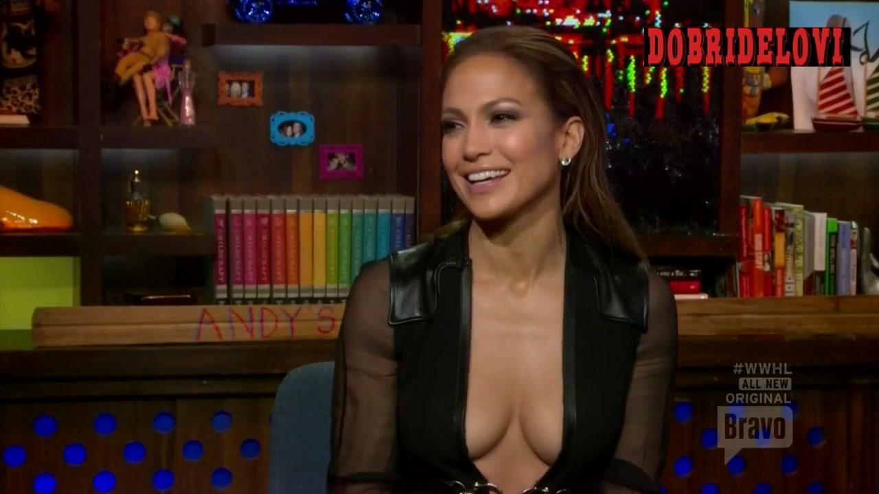 Jennifer Lopez open shirt being interviewed in Watch What Happens: Live