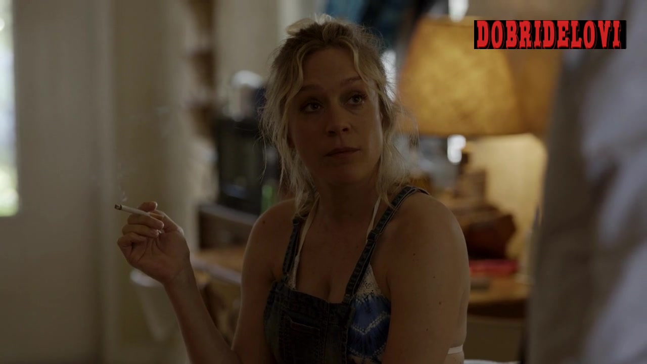 Chloë Sevigny showing cleavage having a smoke scene from Bloodline