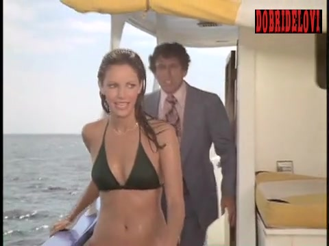 Jaclyn Smith sexy green bikini on boat scene from Charlie's Angels