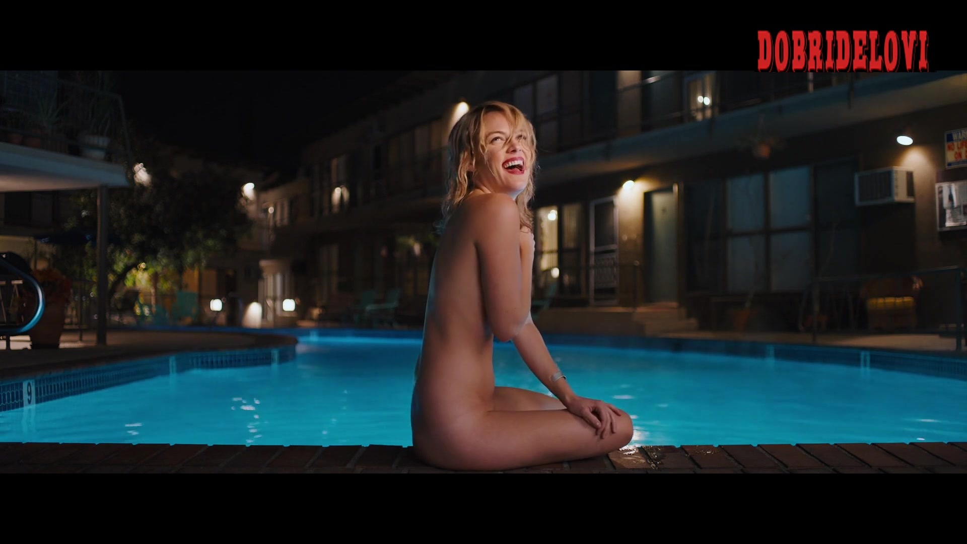 Riley Keough nude in pool scene from Under the Silver Lake