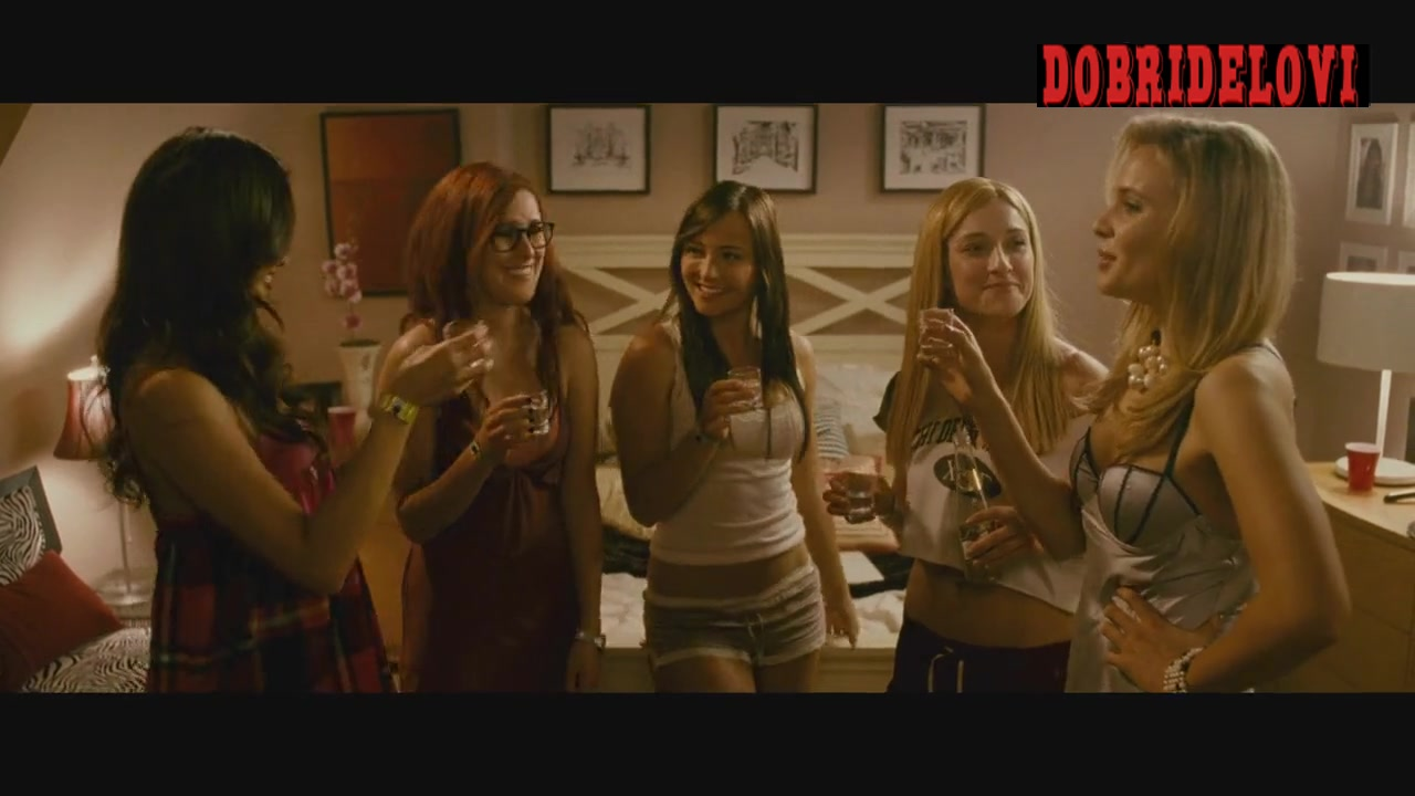 Jamie Chung drinking alcohol with multiple girls scene from Sorority Row