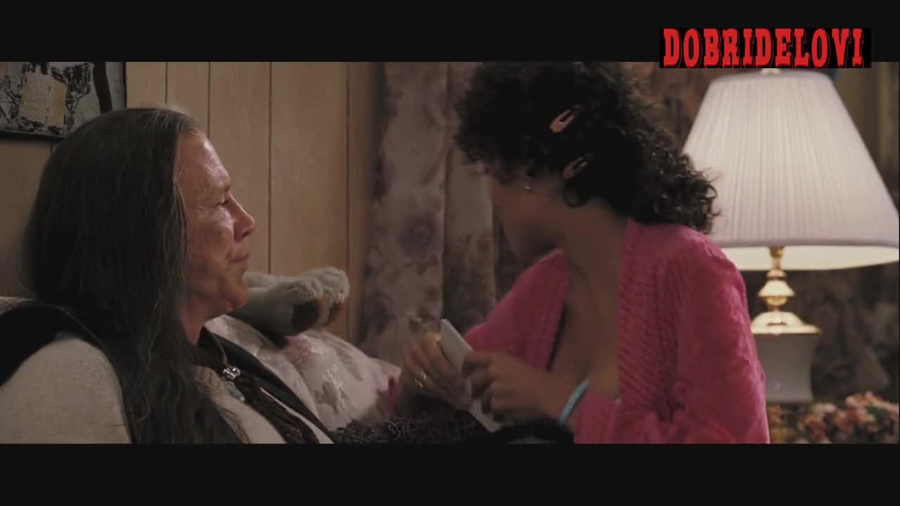 Rosario Dawson pink robe cleavage scene from Killshot