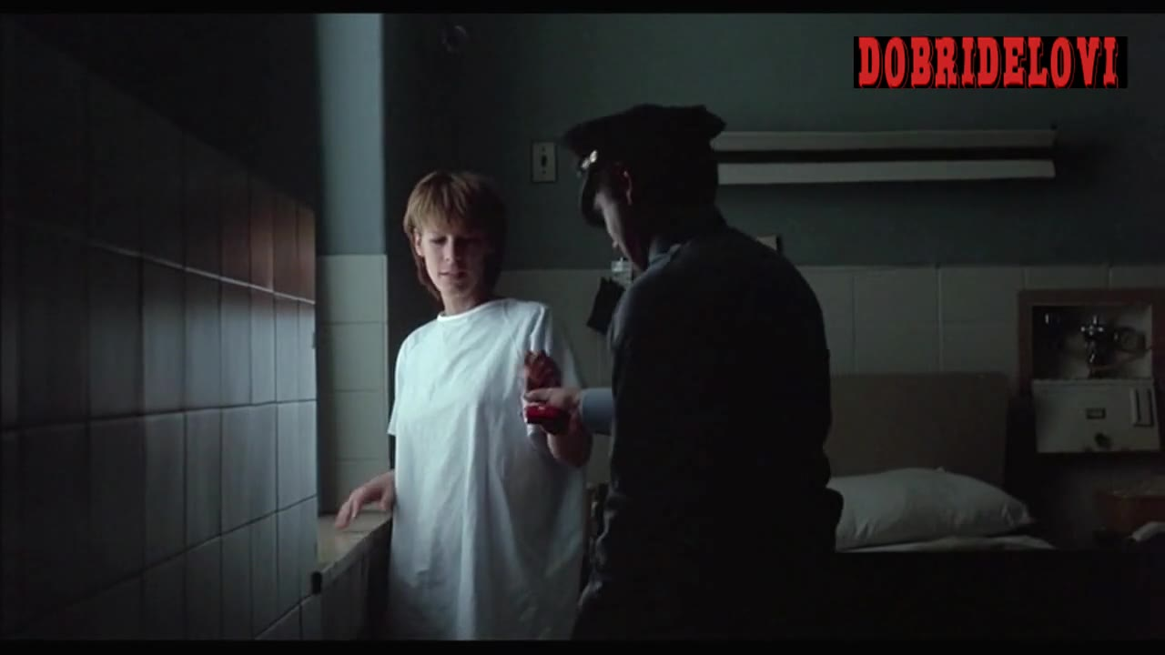 Jamie Lee Curtis hospital gown scene from Blue Steel