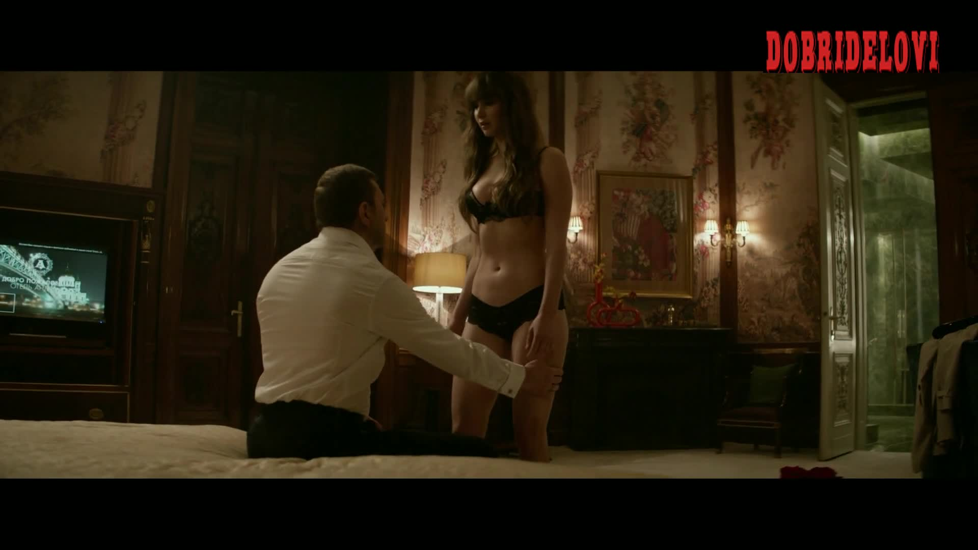 Jennifer Lawrence undresses for dude in bed -- Red Sparrow