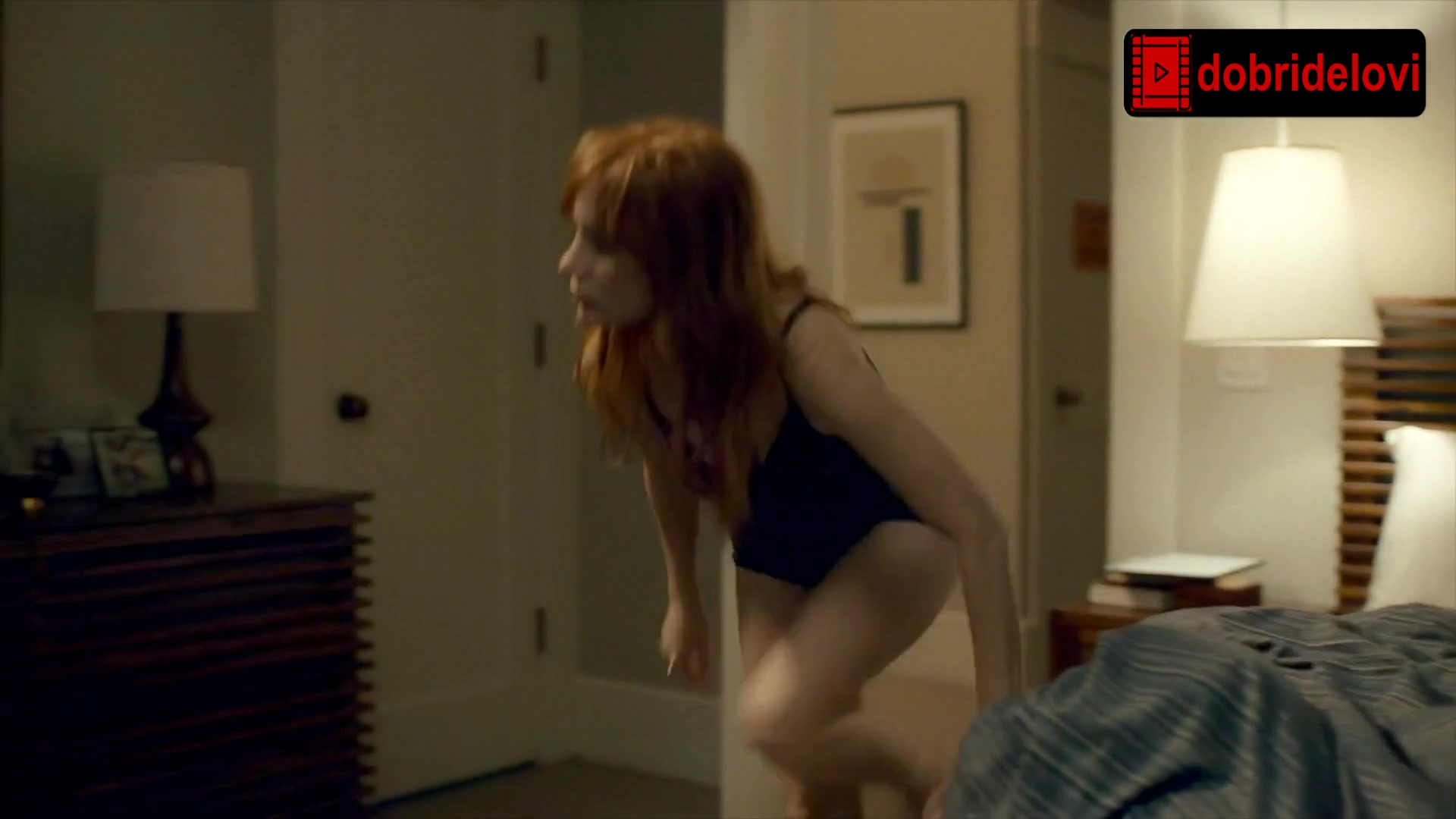Jessica Chastain lingerie, sexy, bed scene from Scenes from a Marriage