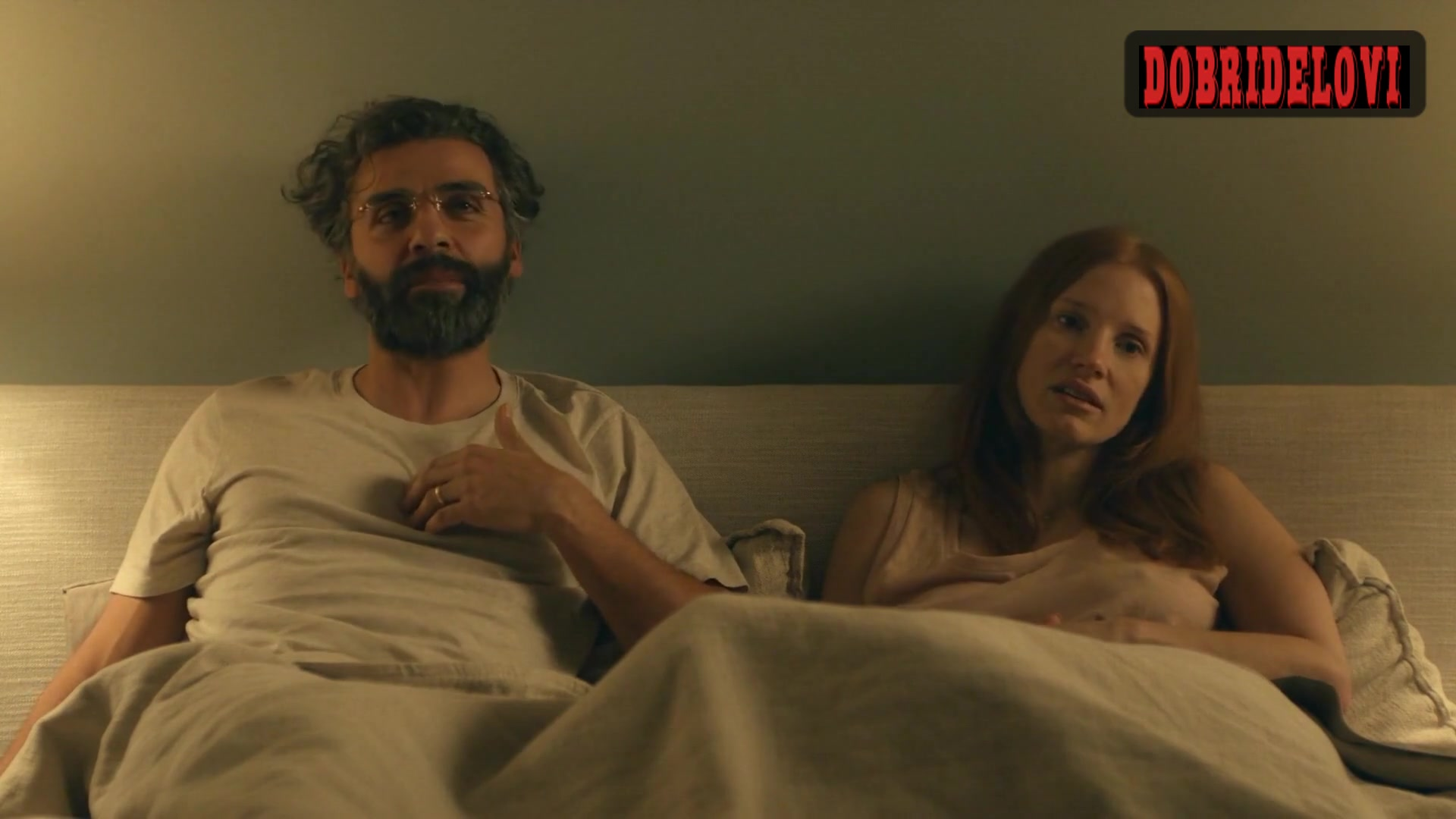 Jessica Chastain pokies in bed from Scenes from a Marriage