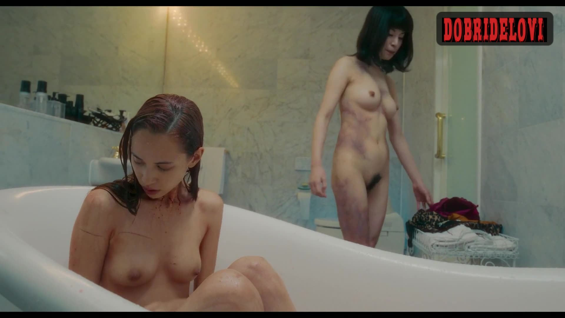 Honami-sato and Mizuhara Kiko shower scene from Ride or Die