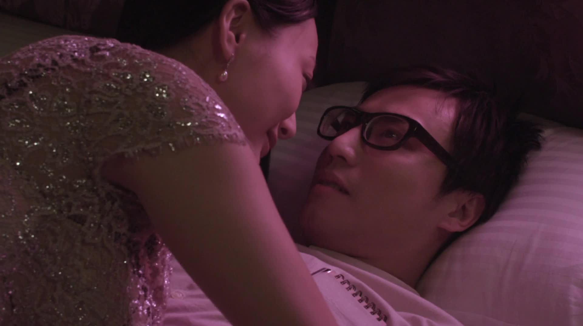 Daniella Wang sexy dress in bed scene from Due West Our Sex Journey