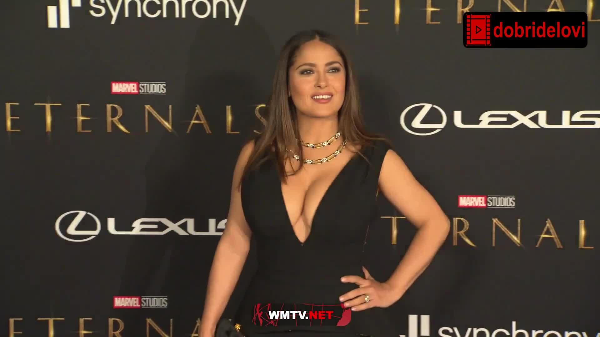 Salma Hayek master cleavage at Eternals World Premiere