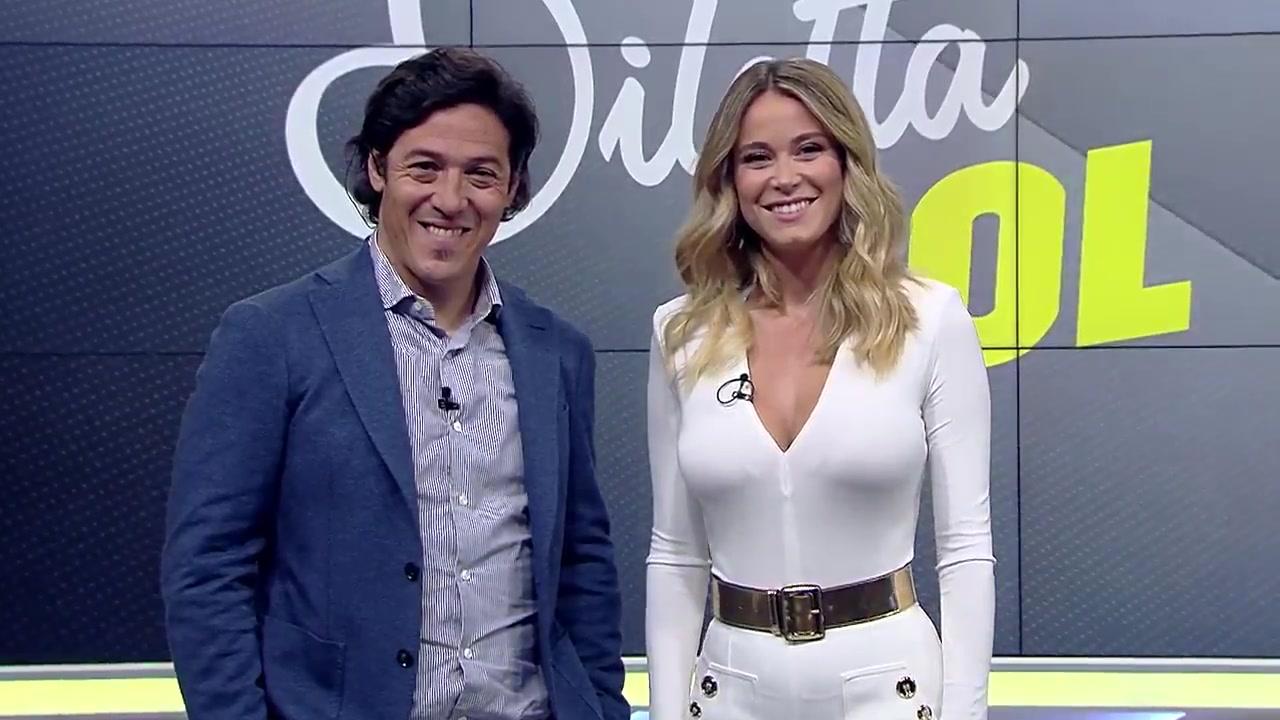 Diletta Leotta hosts Dilleta Gol in sexy white