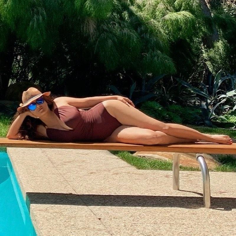 Salma Hayek sunbathing