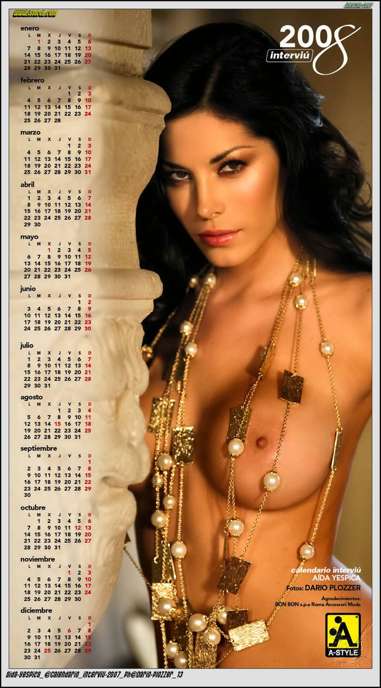 Aida Yespica Calendar 2008 photoshoot cover