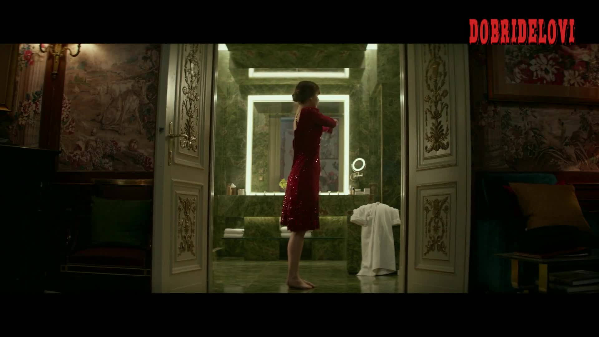 Jennifer Lawrence showers and dresses in red -- Red Sparrow