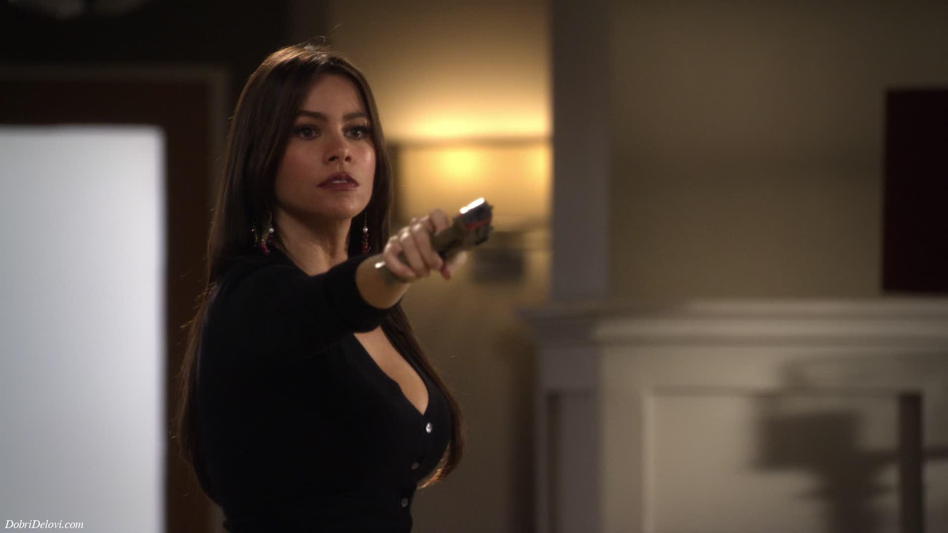Sofia Vergara soots the nerf gun scene from Modern Family